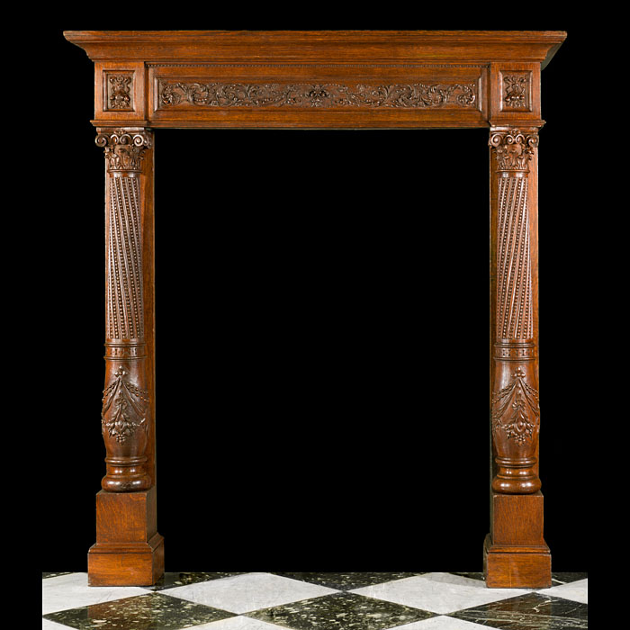 A Tall French Antique Oak Fireplace Mantel