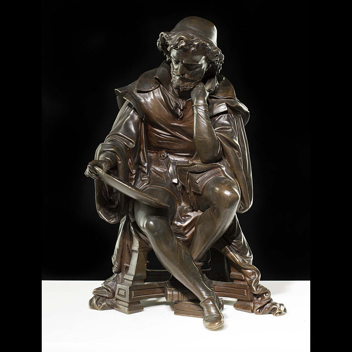 Antique patinated bronze of Leonardo da Vinci