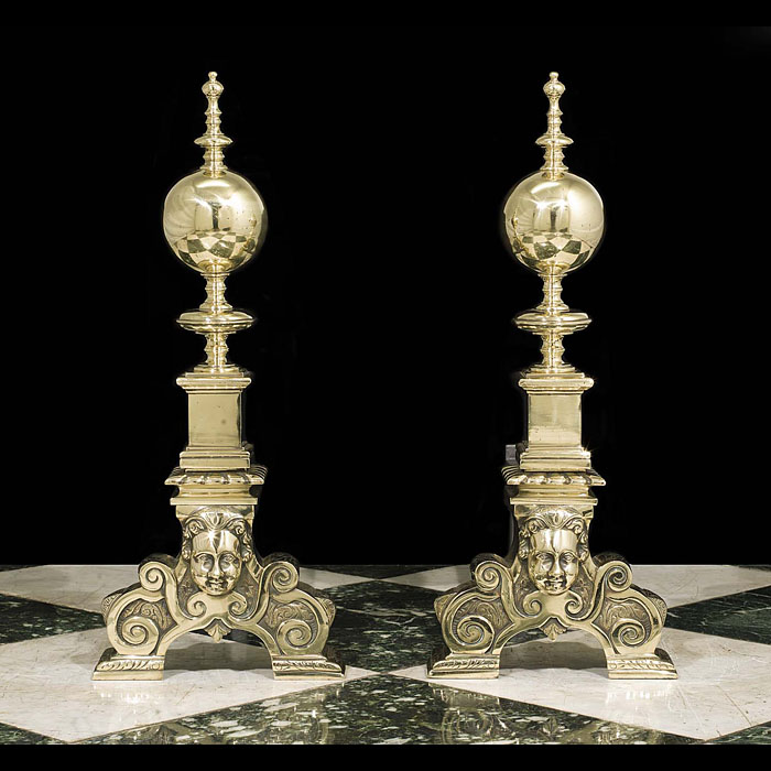 An Antique Pair of Baroque Style Andirons
