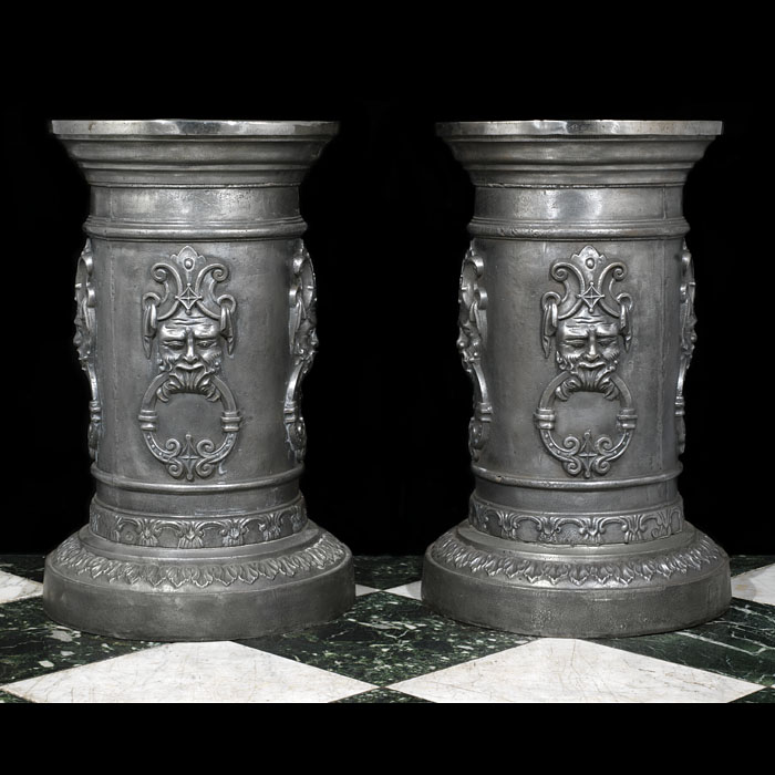 A pair of 20th century cast iron urn stands
