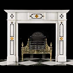 An Inlaid Marble Gothic Revival Fireplace