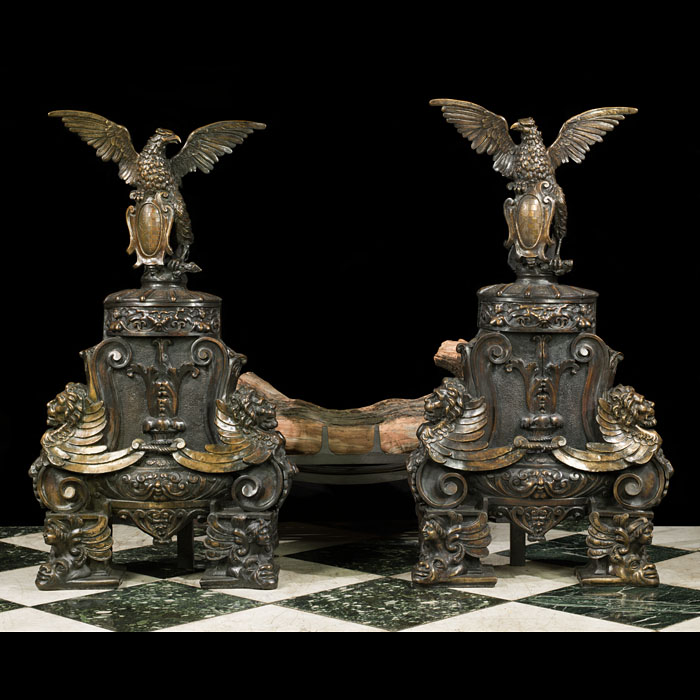 A Pair of Majestic Bronze Antoque Andirons