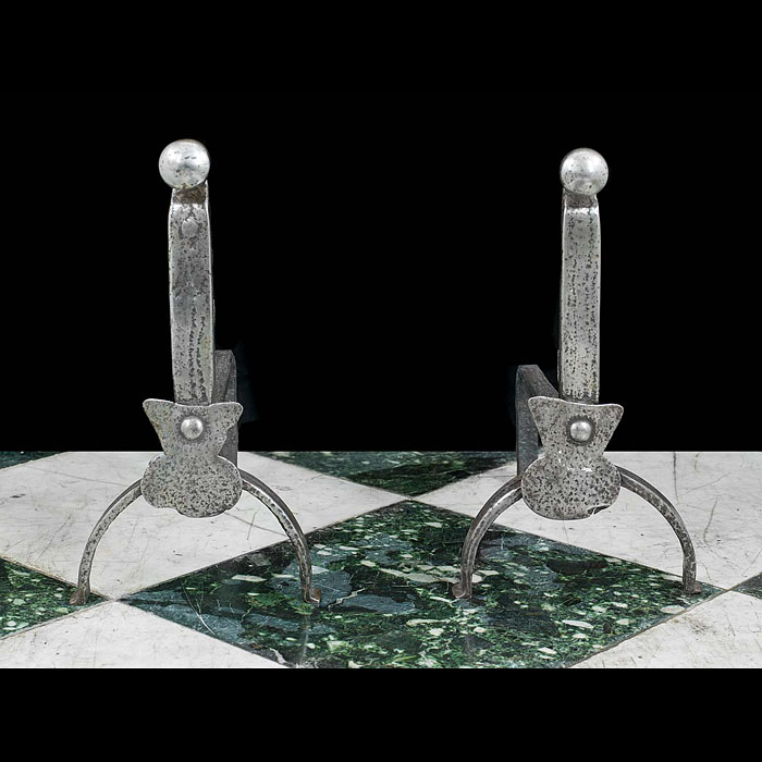 Baroque Style Cast Iron Antique Andirons