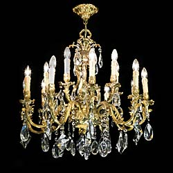 A pair of 20th century cut glass fifteen branch chandeliers