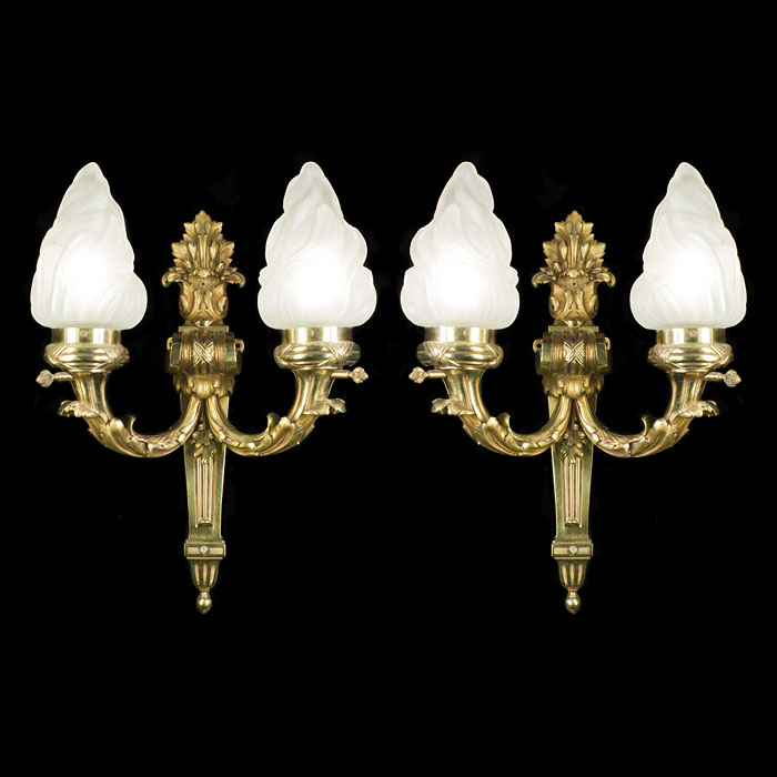 Large Pair of Victorian Flambeau Wall Lights