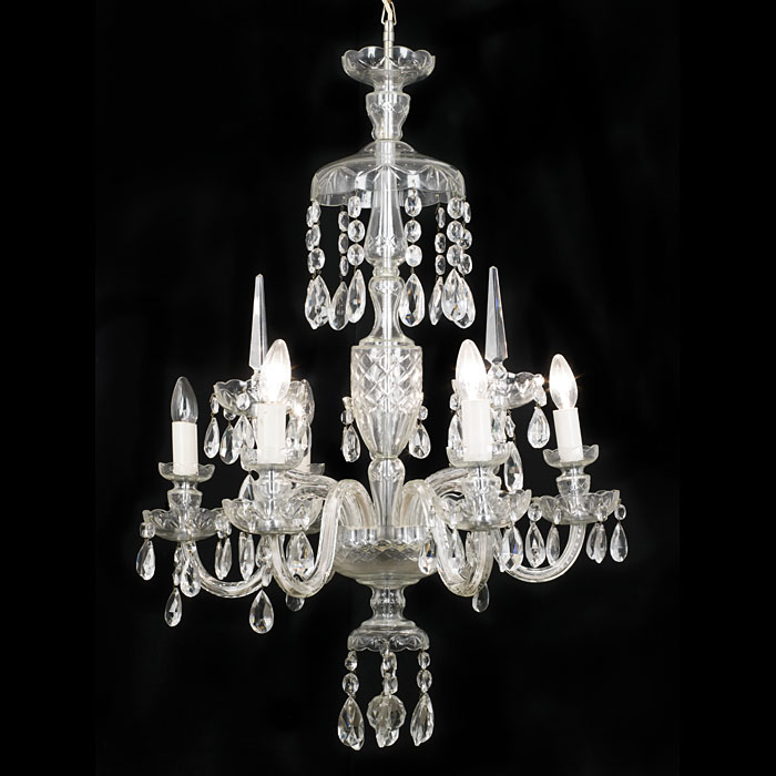 A mid 20th century cut glass nine branch chandelier