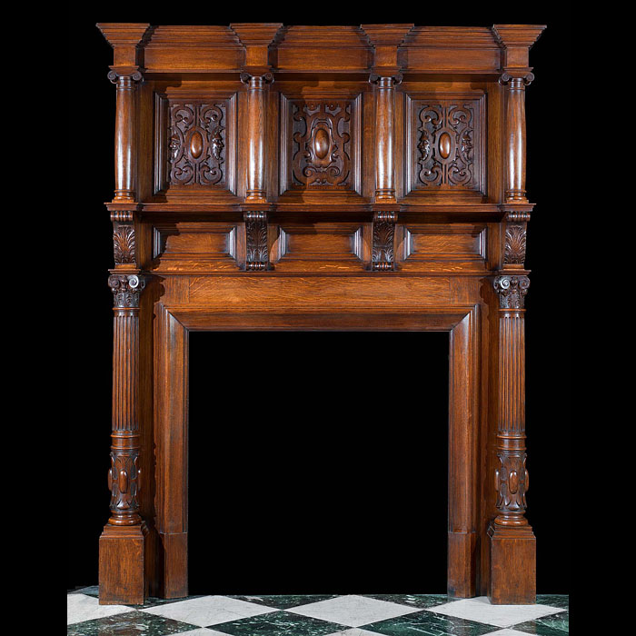 Large Carved Oak Edwardian Fireplace Mantel