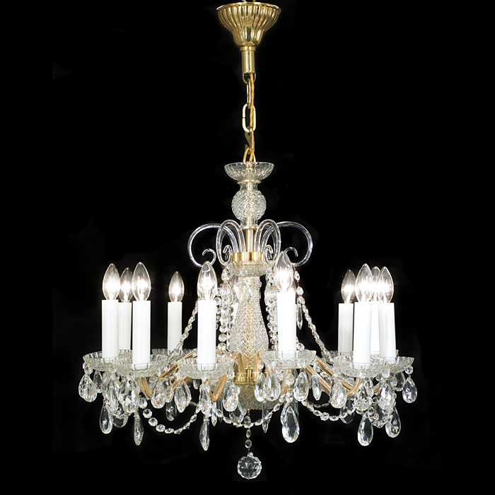 One of Four Identical Cut Glass Chandeliers
