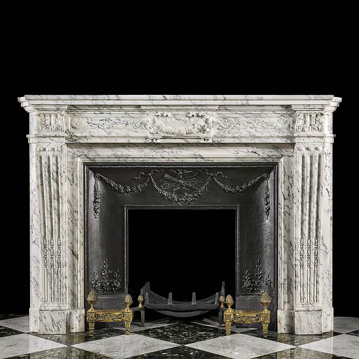 An Antique Louis XVI style chimneypiece in Arabascato marble