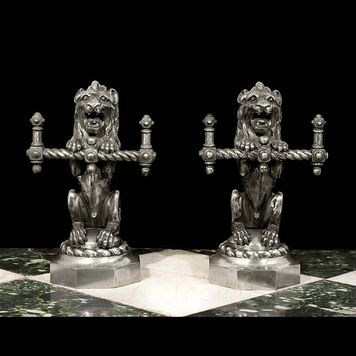 A Pair of Lion Form Antique Fire Tool Rests.
