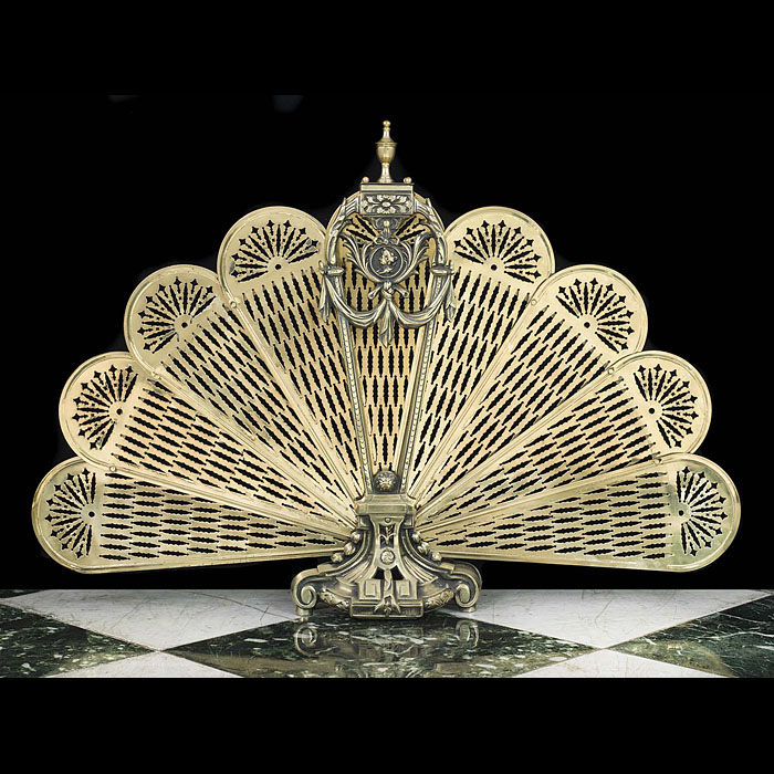 A French Peacock fan Rococo styled brass Fire Screen