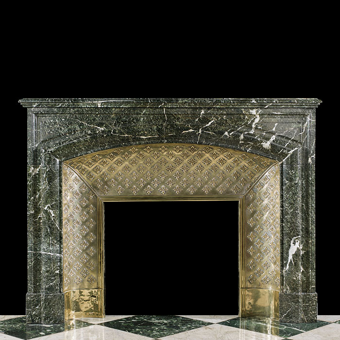 A Verdi Antico Marble, Louis XVI antique fireplace mantel