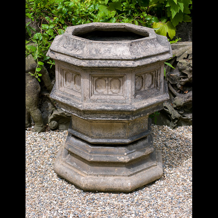 A Gothic Style Octagonal Terracotta Urn