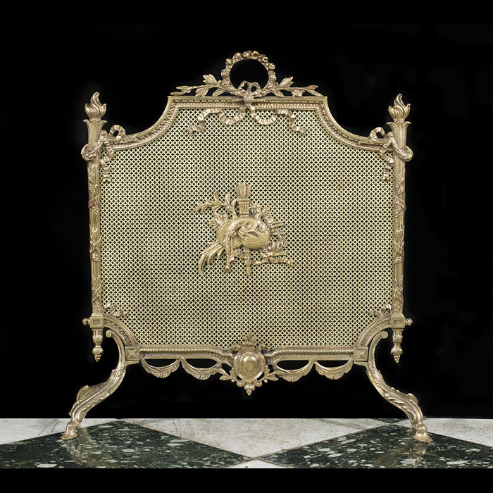 A Louis XVI Style Gilt Brass Fire Screen