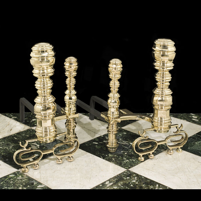 A pair of large Antique brass Baroque style chenets