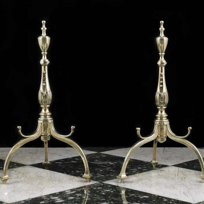 A Tall Pair of Victorian Brass Fire Dogs