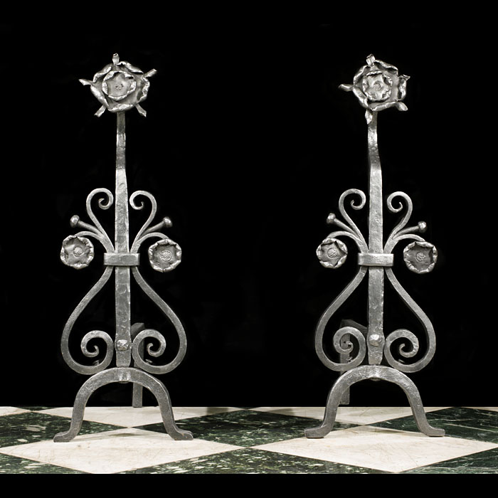 Pair of Arts & Crafts Wrought Iron Andirons