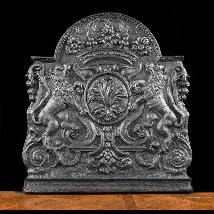 A French antique cast iron fire back.