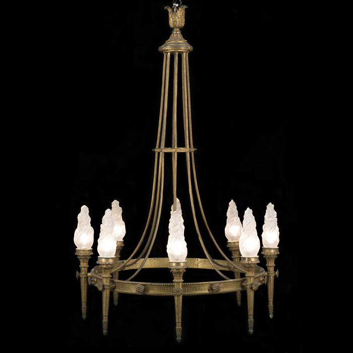 A seven light Neoclassical style torchere antique chandelier