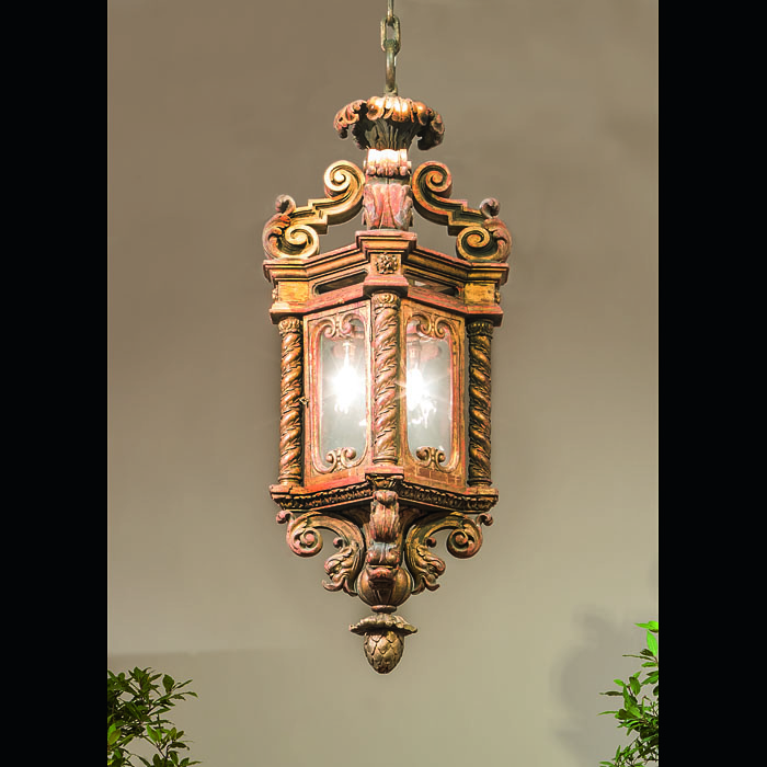An Italian Baroque large Gilt Wood Lantern