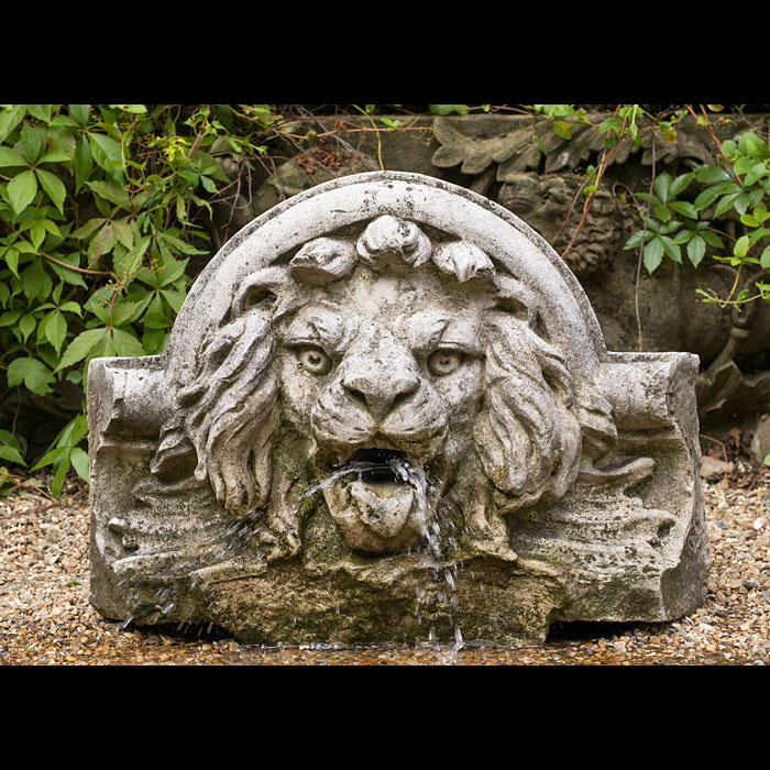 A Victorian Portland Stone Lion Fountain Head