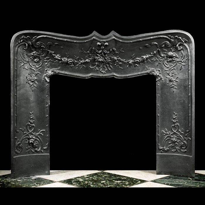 French florally decorated cast iron fireplace insert
