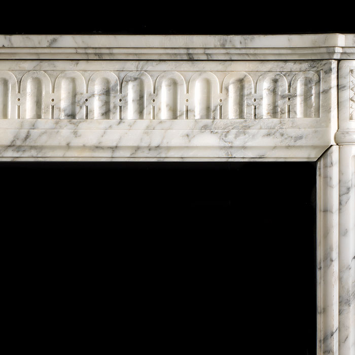 A French Louis XVI antique marble fireplace surround