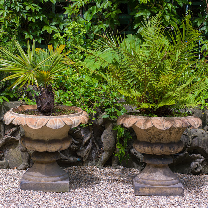 Victorian pair of terracotta garden urns in the Regency style.