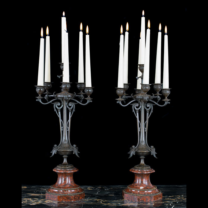 Art Nouveau pair of bronze candelabra