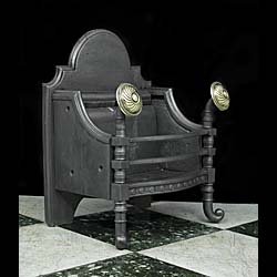 Arts & Crafts cast iron and brass Victorian Fire Grate