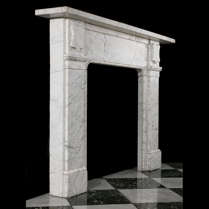 A Victorian pencil statuary antique marble fireplace mantel.
