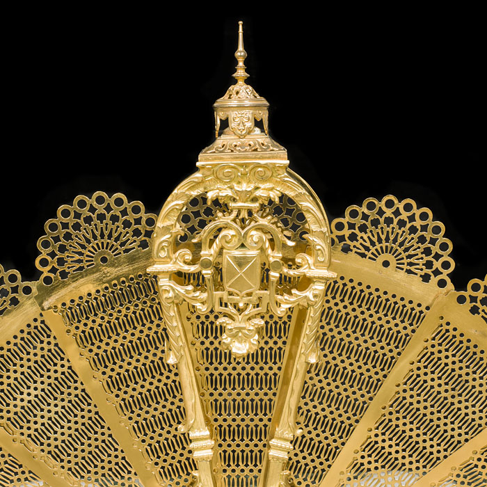 An antique gilt brass peacock firescreen.