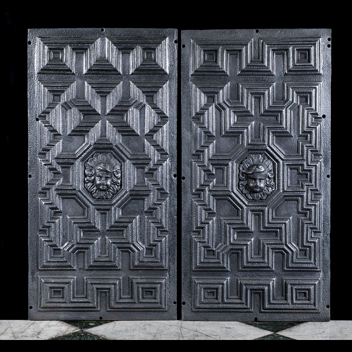 Victorian pair of cast iron fireplace panels