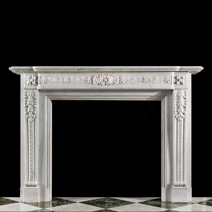 14145 - A large Louis XVI Carrara marble chimneypiece.