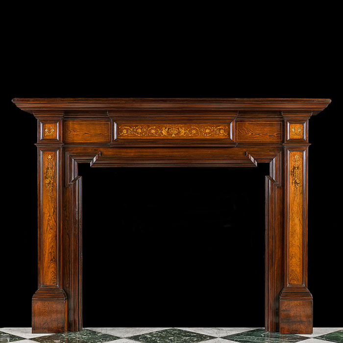 An Antique Rosewood Edwardian Fireplace