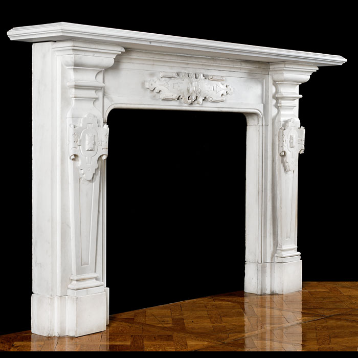 An antique Victorian statuary marble fireplace mantel