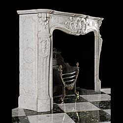 A Carrara marble Louis XV fireplace mantel