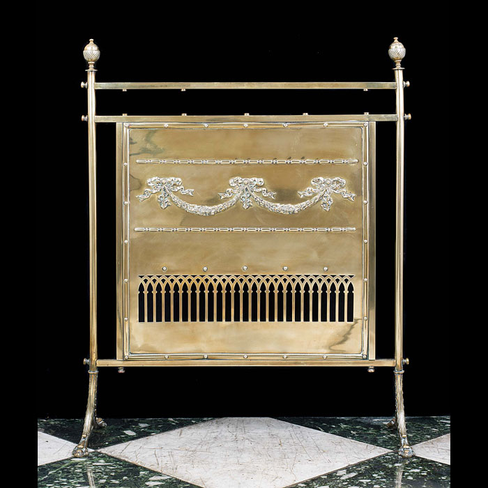 An Antique Edwardian brass fire screen