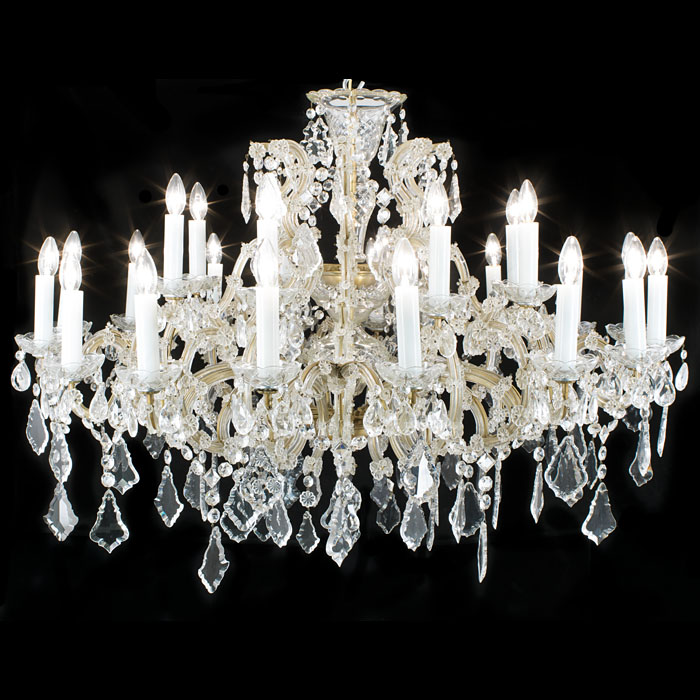 A twenty four branch cut glass chandelier