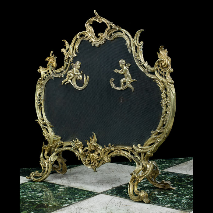 Antique French gilt bronze Rococo firescreen.