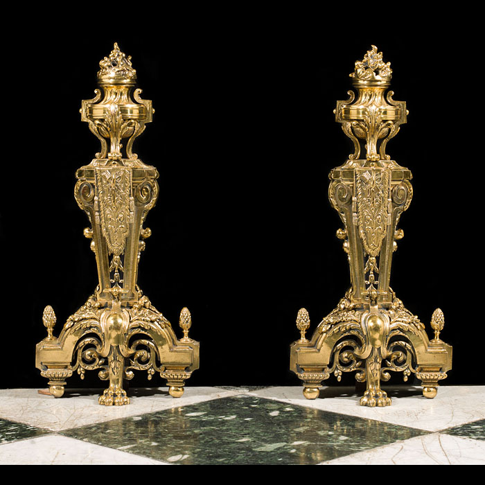 A pair of large brass French Regency style antique chenets.