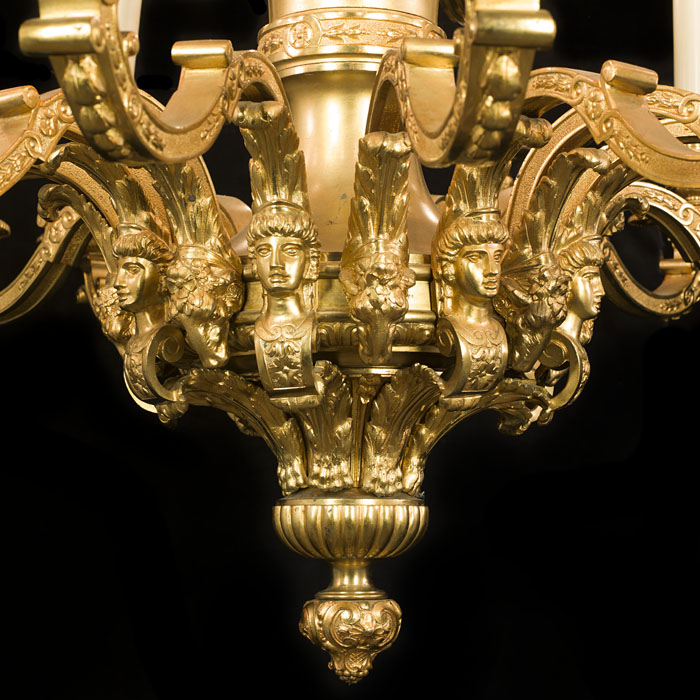 A 20th century Baroque style gilt brass chandelier.