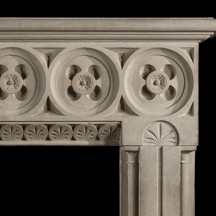 An antique Aesthetic Movement Yorkstone  chimneypiece