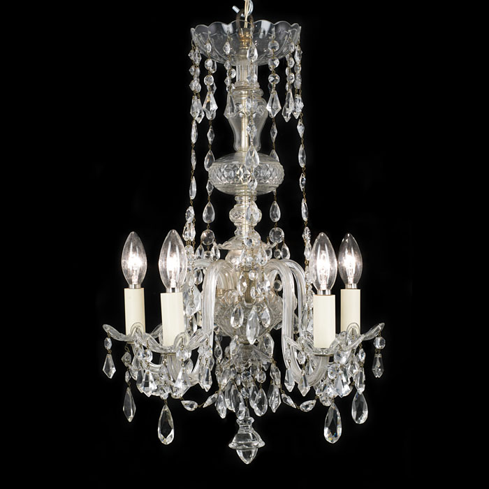 A Georgian style five branch 20th century cut glass chandelier