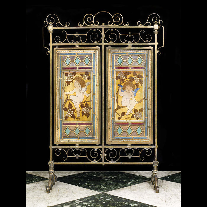 An Aesthetic Movement stained glass fire scree