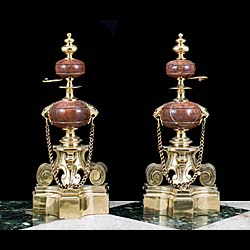 A Pair of Brass & Marble Antique Chenets