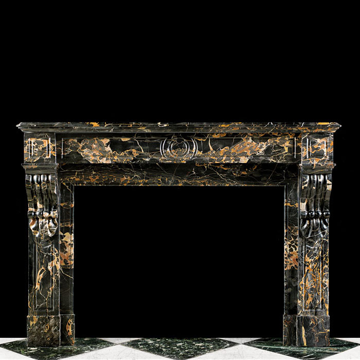 A French Portoro Marble Fireplace Surround