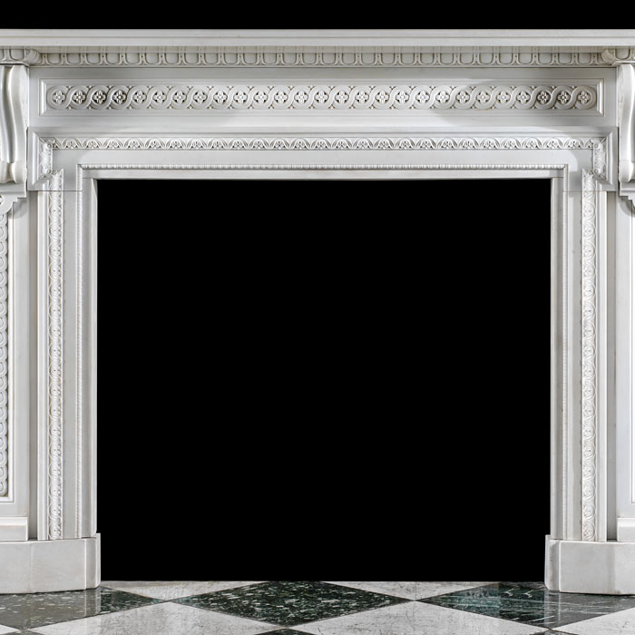 A Victorian white marble antique fireplace mantel