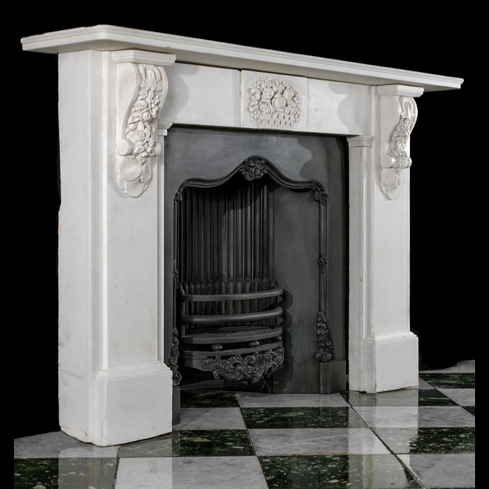 A Victorian corbel white statuary marble chimneypiece