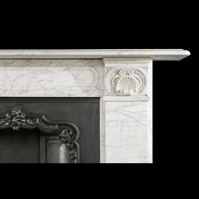 Antique Carrara Marble English Regency fireplace mantel